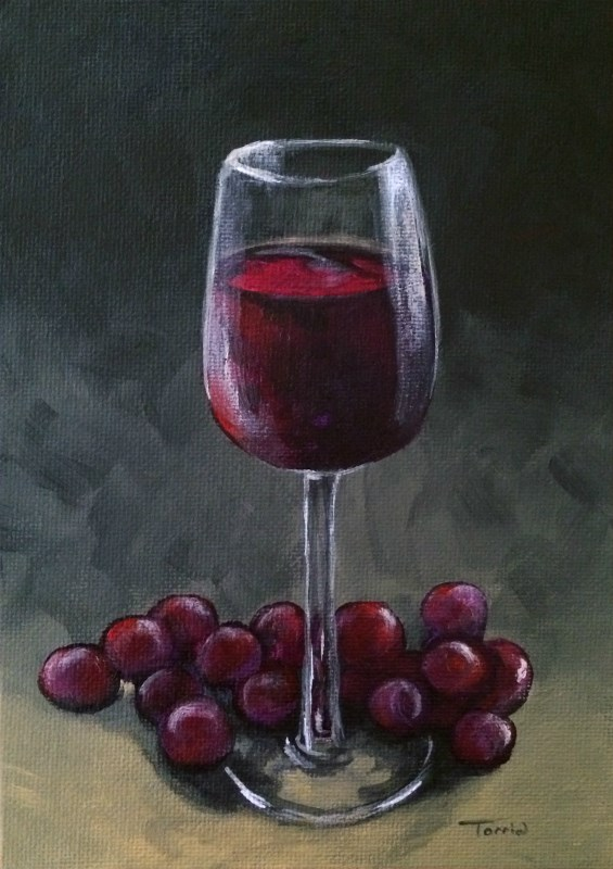 """""""Wine and Grapes"""" original fine art by Torrie Smiley"""