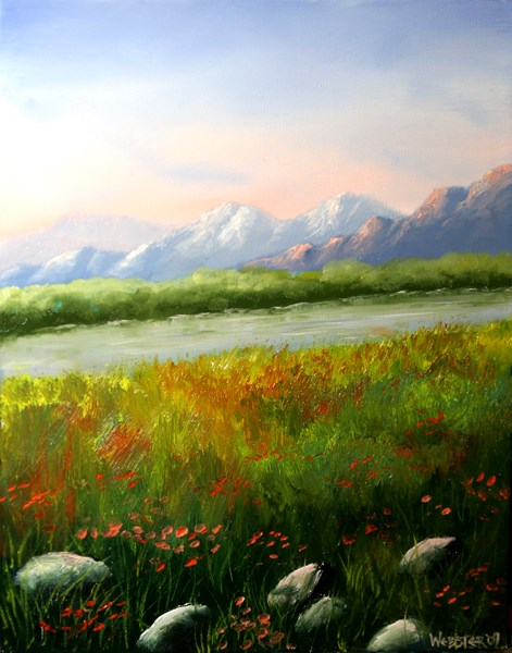 """Mark Webster - Sunrise at the Mountain River Landscape Oil Painting"" original fine art by Mark Webster"