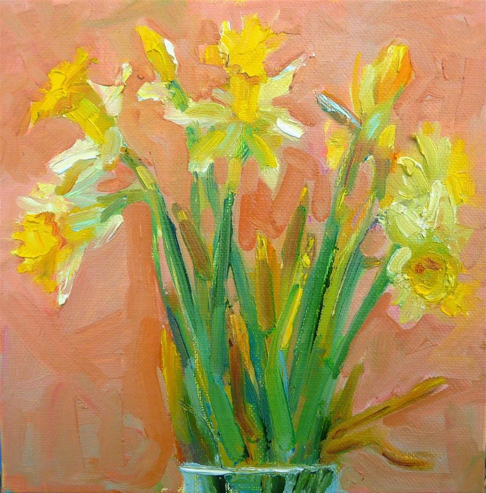 """Daffodils in the Window,still life,oil on canvas,8x8,price$200"" original fine art by Joy Olney"