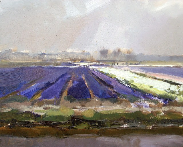 """""""Landscape spring #16 Light on a overcast day Purple fields"""" original fine art by Roos Schuring"""