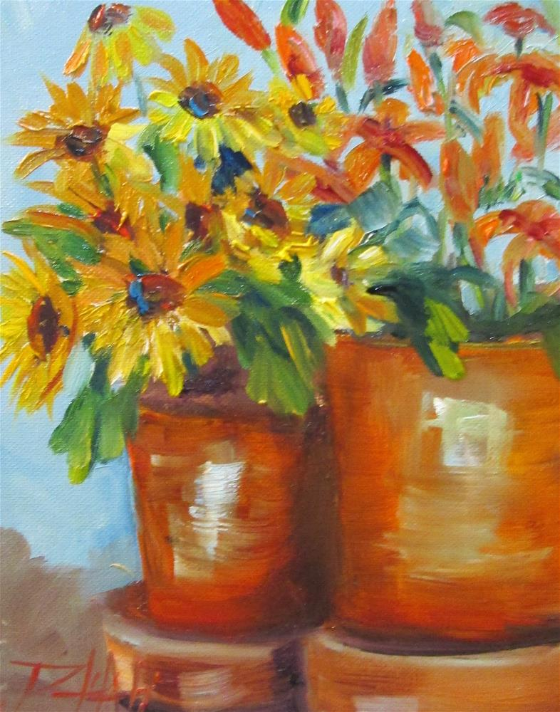 """Black Eyed Susan's and Day Lilies"" original fine art by Delilah Smith"