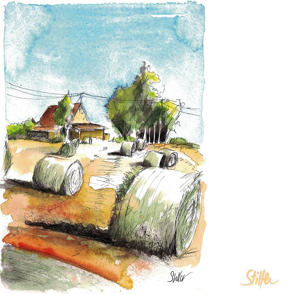 """""""3626 Hay Bales"""" original fine art by Dietmar Stiller"""