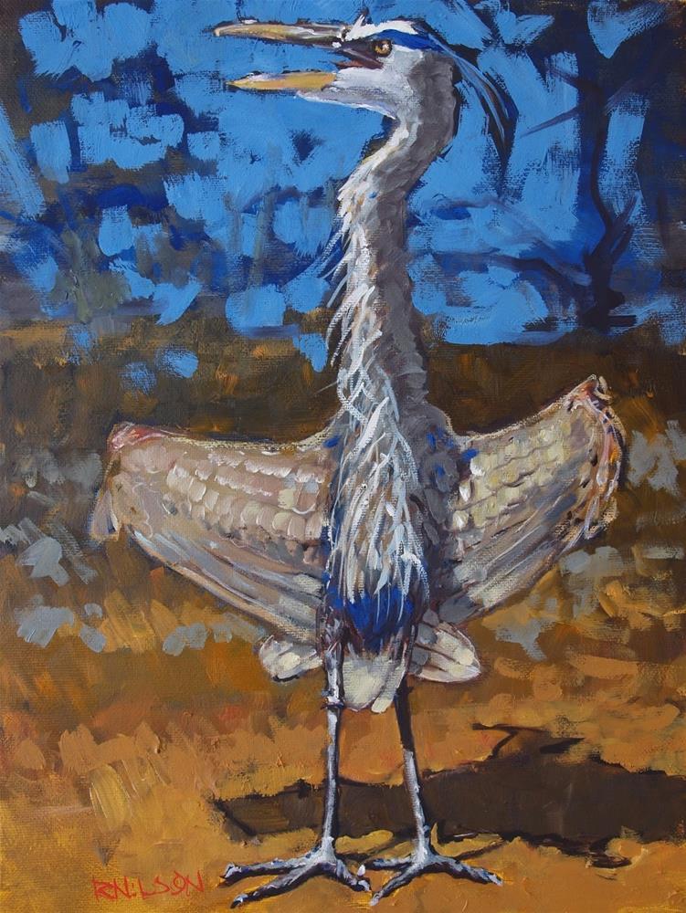 """Blue Heron Flashing"" original fine art by Rick Nilson"