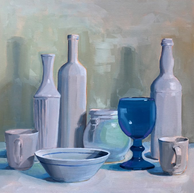"""White Still Life with Blue Glass Goblet"" original fine art by Robin Rosenthal"