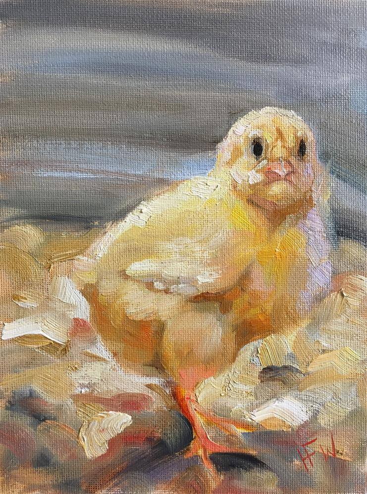 """Pugnacious Chick"" original fine art by H.F. Wallen"