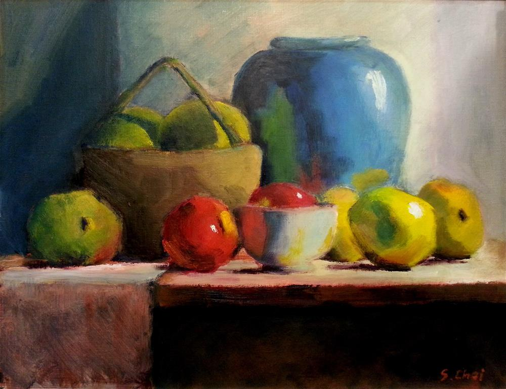 """""""Blue Vase with quinces"""" original fine art by Sunkyung Choi"""