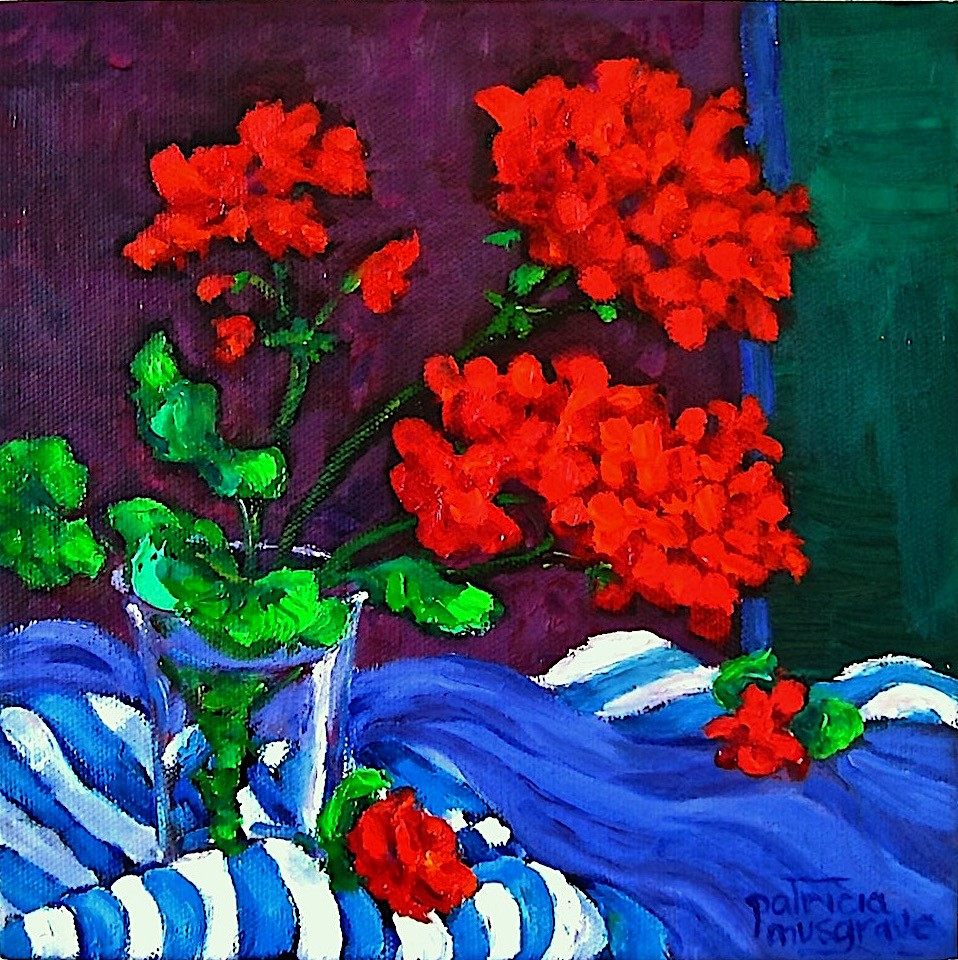 """Red Geraniums"" original fine art by Patricia Musgrave"