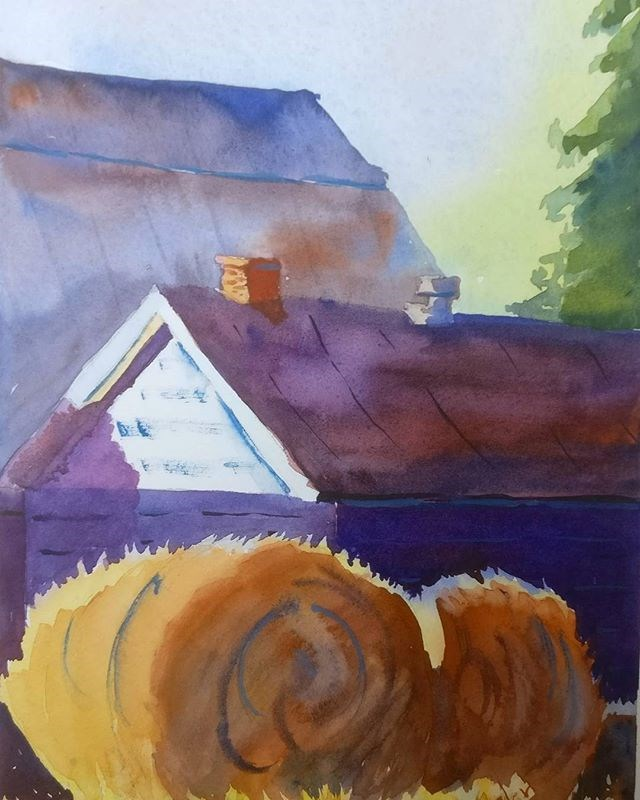 """Hay Bales, Composed"" original fine art by Maria Peagler"