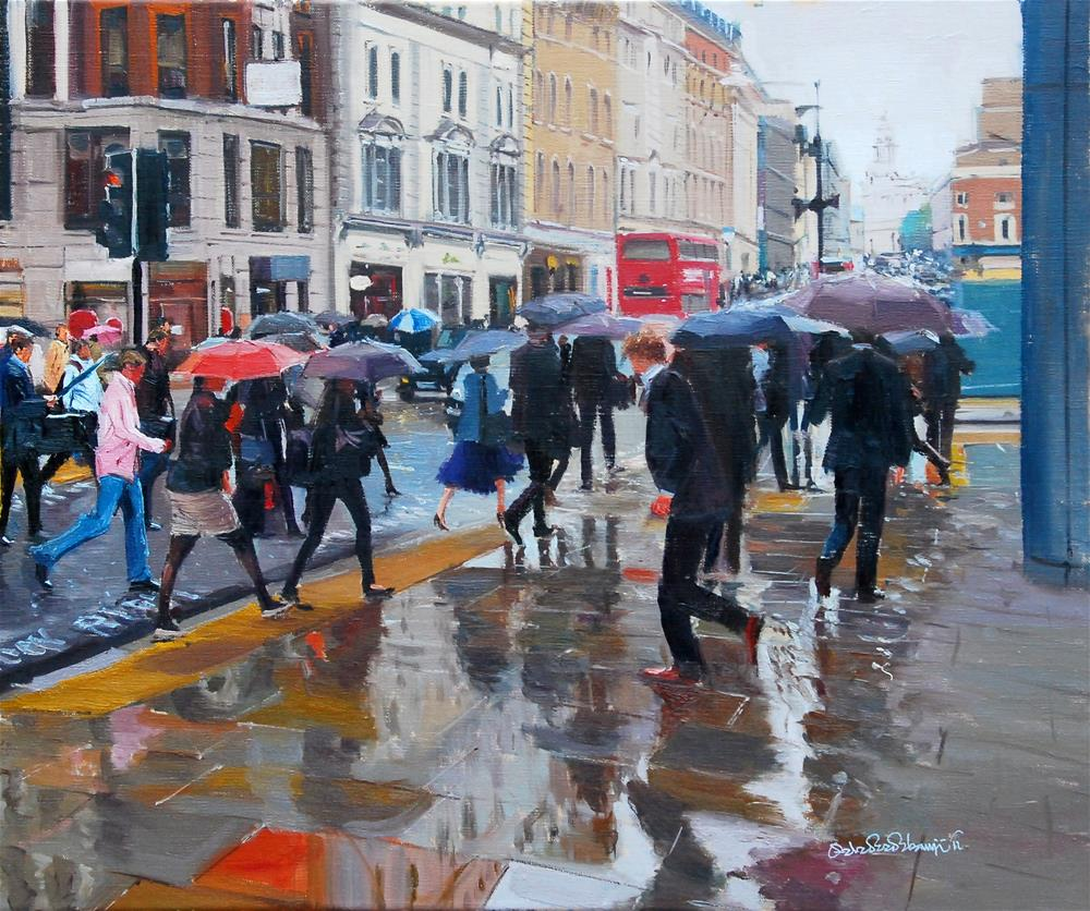 """Rain, Rain and Rush Hour"" original fine art by Adebanji Alade"