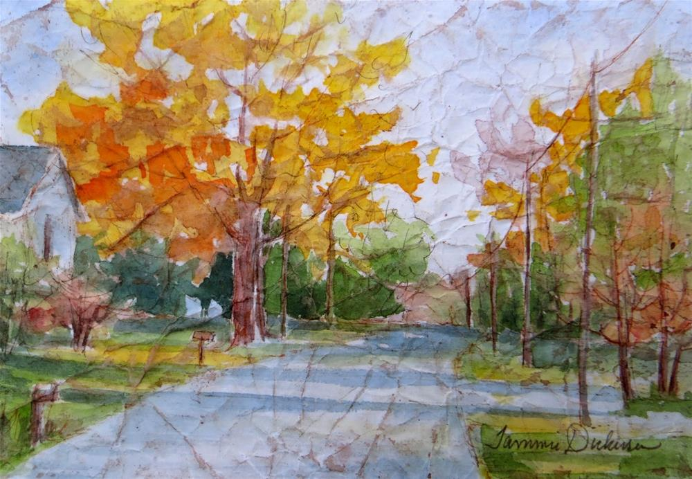 """""""Autumn on the River Road"""" original fine art by Tammie Dickerson"""