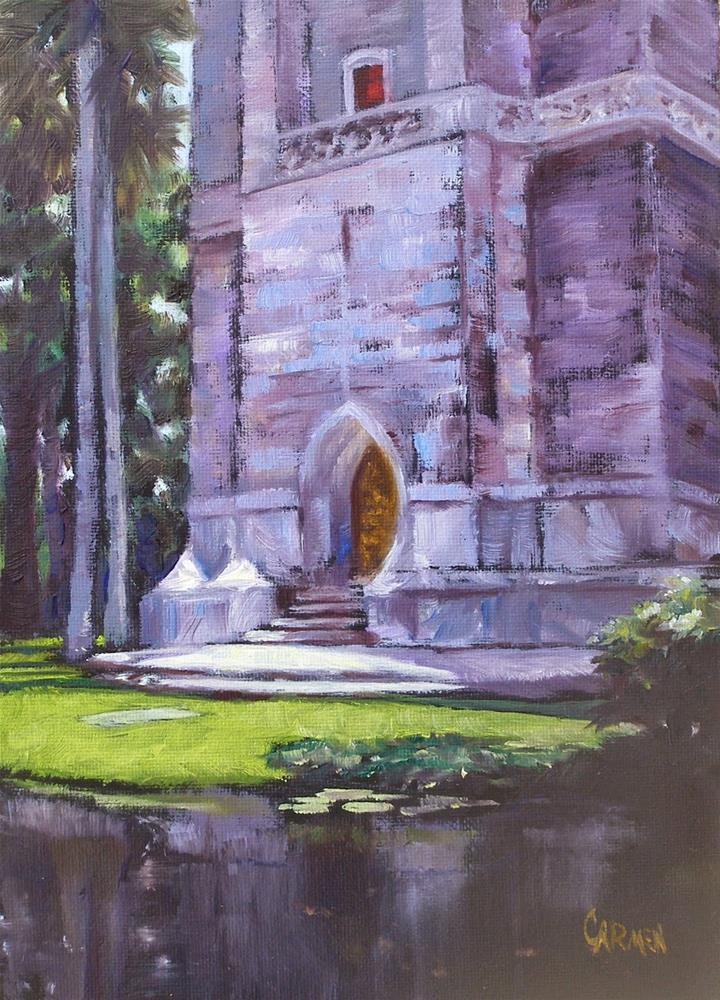 """Bok Tower, 5x7 Oil Painting on Canvas Panel"" original fine art by Carmen Beecher"