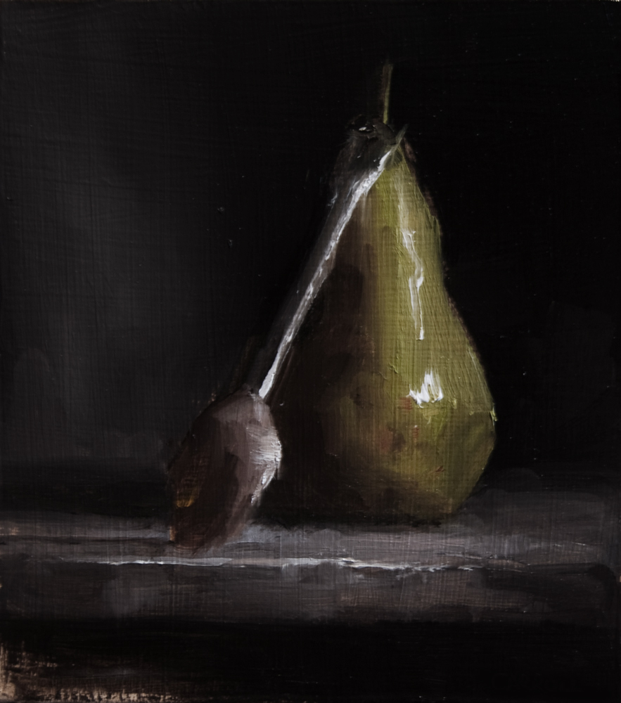"""Pear and Spoon"" original fine art by Neil Carroll"