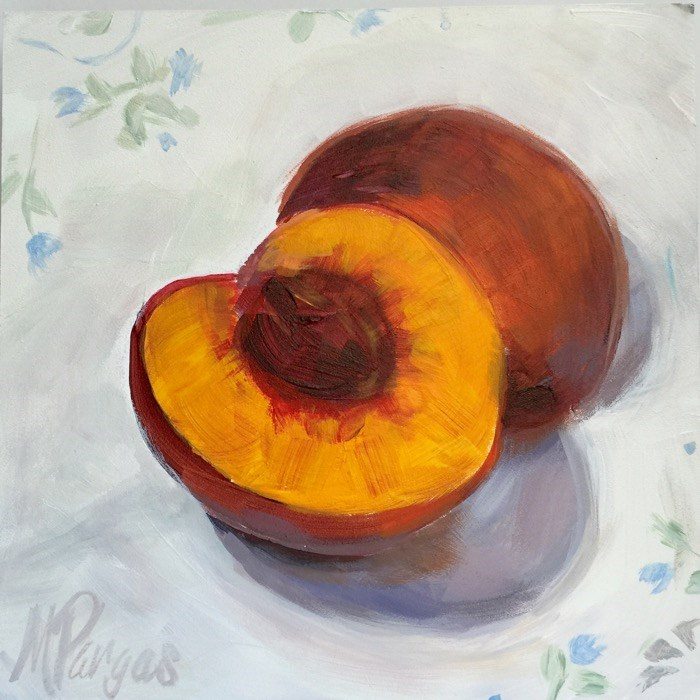 """Half a Peach"" original fine art by Mary Pargas"