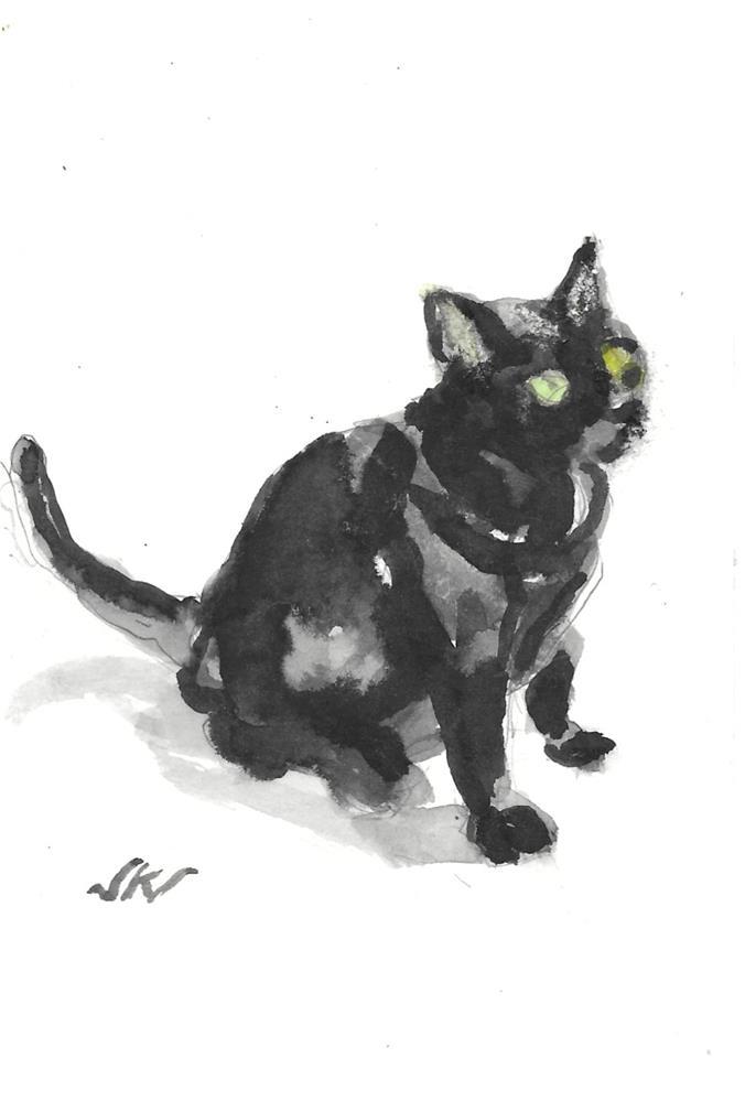 """Daily Cat 215"" original fine art by Jean Krueger"
