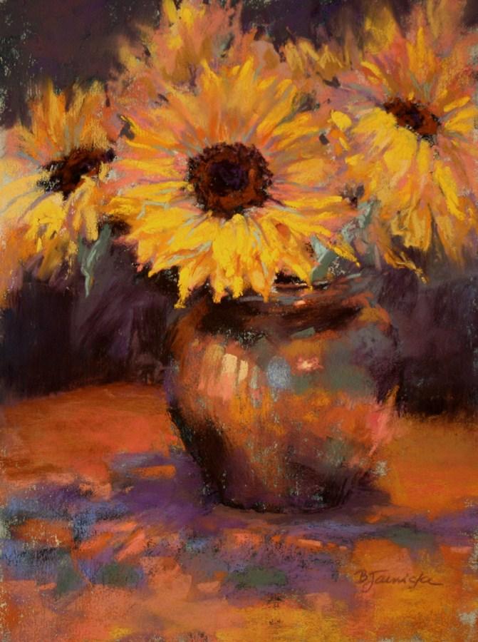 """Happy as Sunflowers"" original fine art by Barbara Jaenicke"