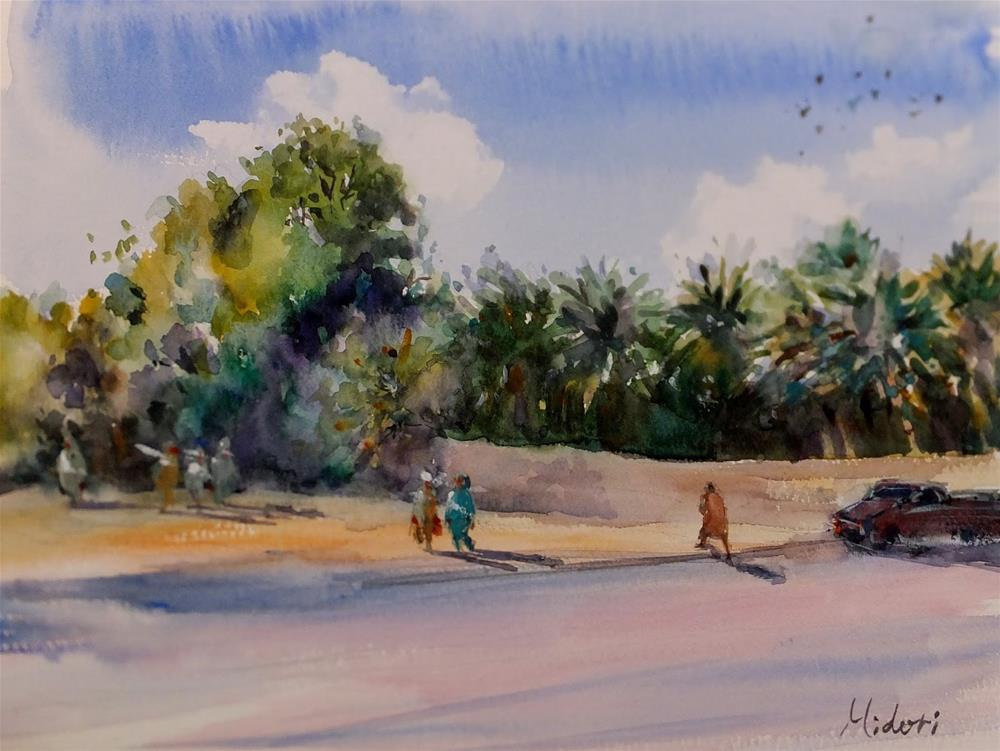 """Al Ain Oasis"" original fine art by Midori Yoshino"