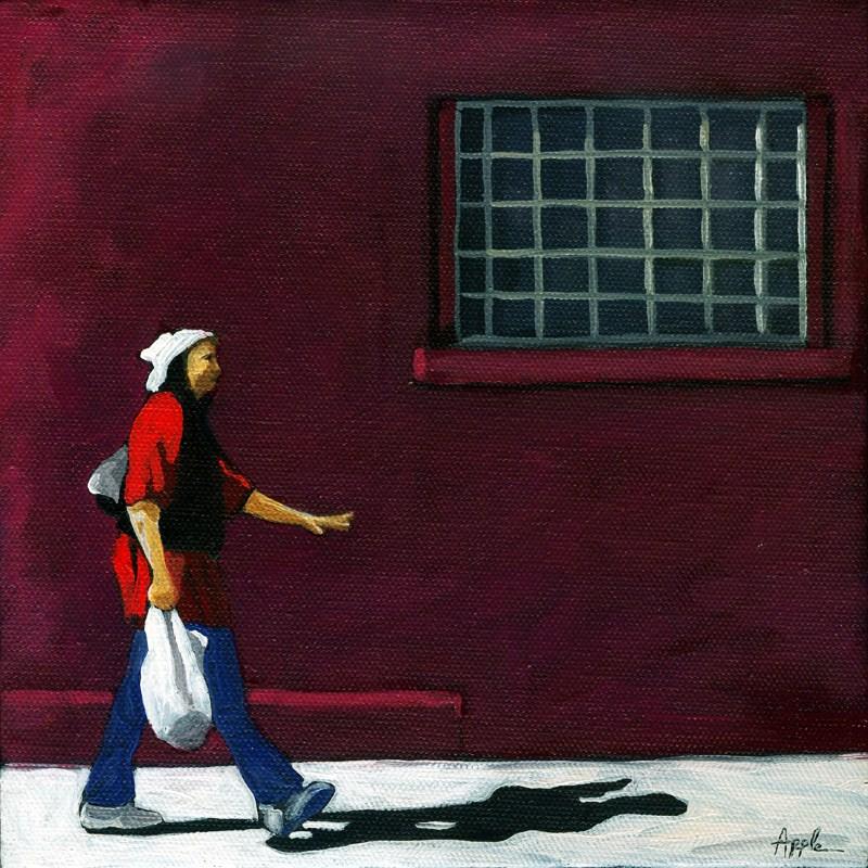 """""""Woman Walking figure city scene"""" original fine art by Linda Apple"""