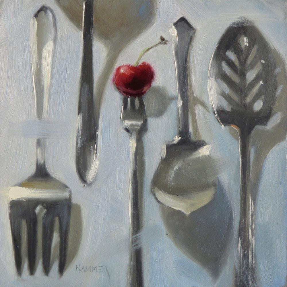 """Serving it up  6 x 6  oil"" original fine art by Claudia Hammer"