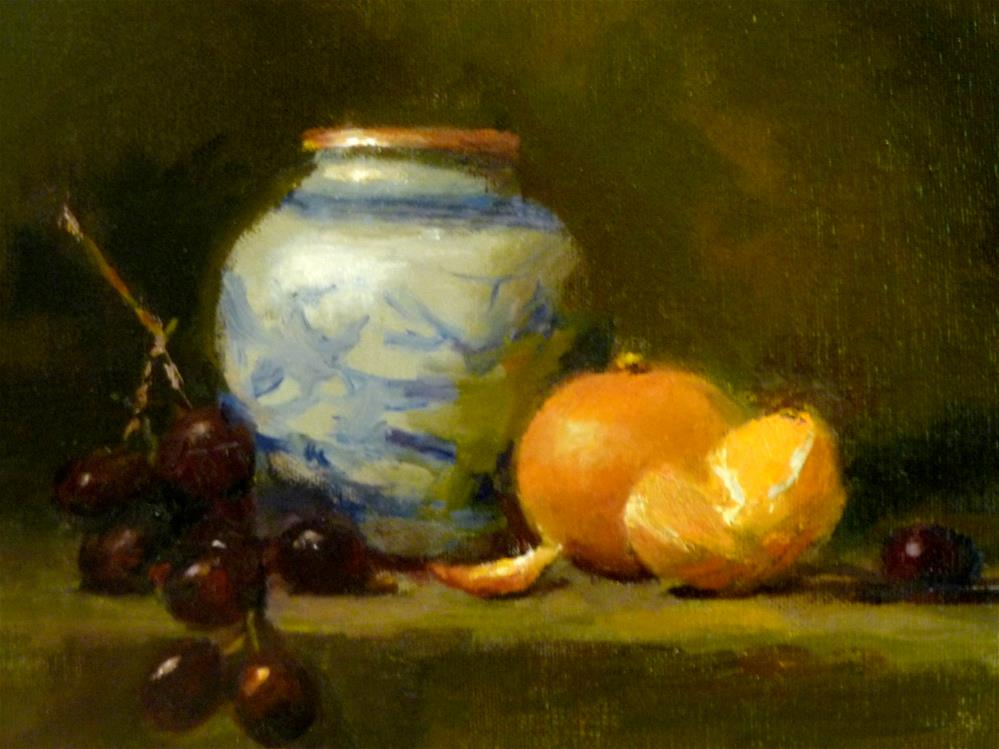"""""""Chinese Pot, Grapes and Tangerines"""" original fine art by Susan Leider"""