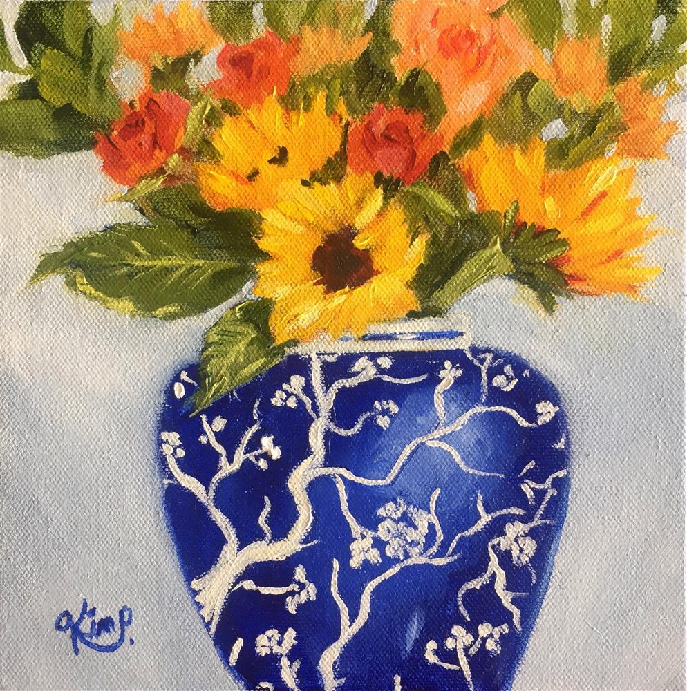 """""""Sunflowers and roses in blue and white vase mini bouquet """" original fine art by Kim Peterson"""