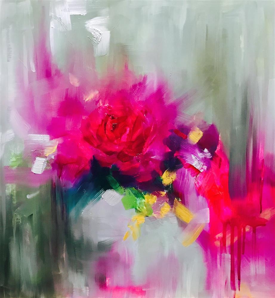 """Scarlet Ibis Peony"" original fine art by Nancy Medina"