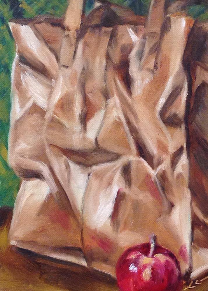 """My Grocery Bag"" original fine art by Linda Lowery"