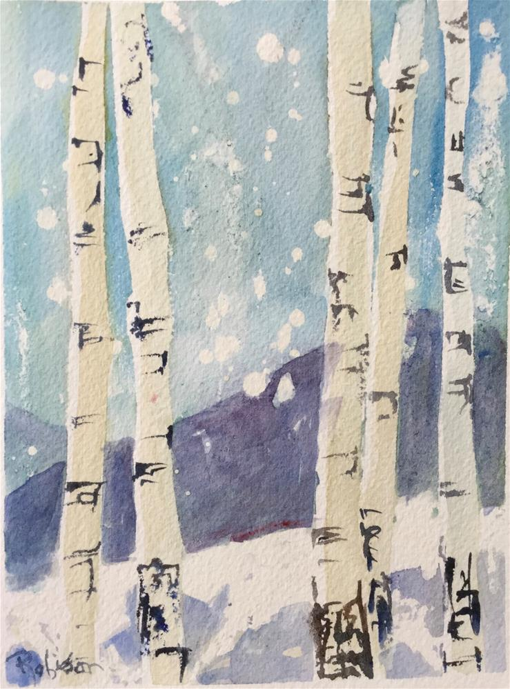 """Aspens in the Snow"" original fine art by Renee Robison"