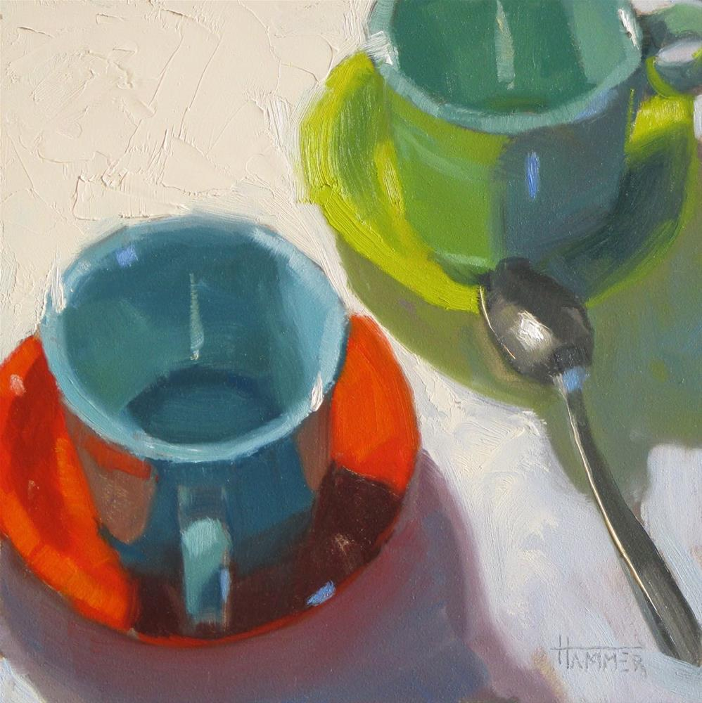 """Coffee with Friends 6in x 6in  oil on panel"" original fine art by Claudia Hammer"