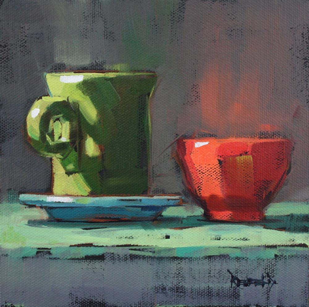 """Pink Bowl and Green Fiesta Cup"" original fine art by Cathleen Rehfeld"