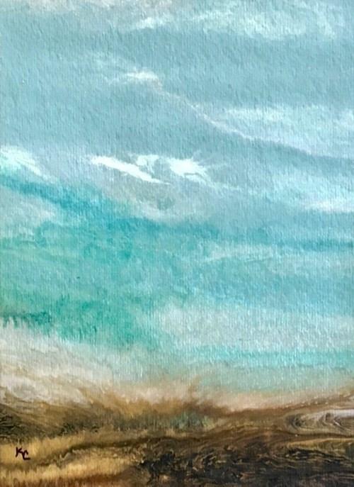 """Ocean, Abstract Seascape Painting, Beach, Coastal Art BEACH BASH SALE #38-Gulf Days Series by Inte"" original fine art by Kimberly Conrad"
