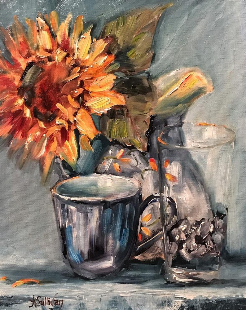 """""""Faraway Gazing sunflower demo still life by Alabama Artist Angela Sullivan"""" original fine art by Angela Sullivan"""