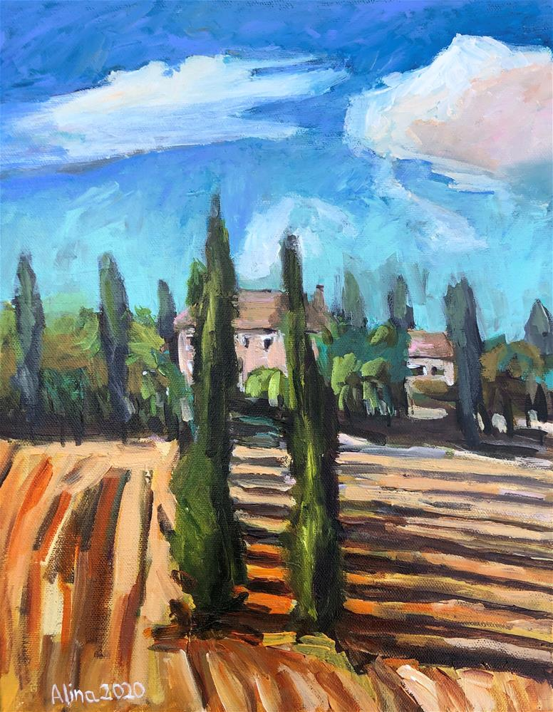 """Cypress Trees "" original fine art by Alina Vidulescu"