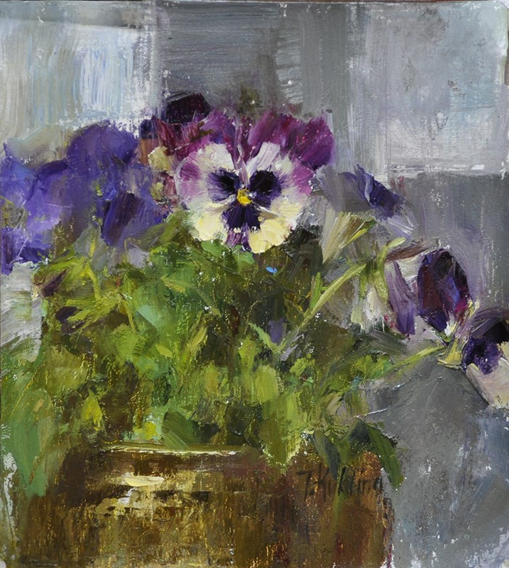 """""""pansies"""" original fine art by Taisia Kuklina"""
