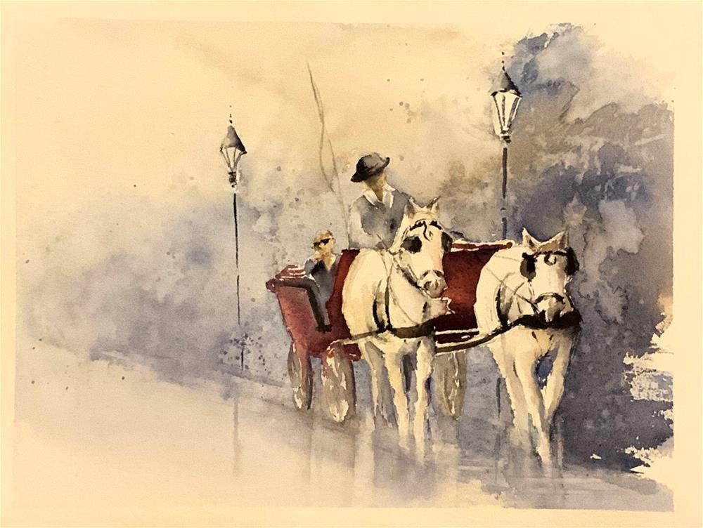 """A ""Fiaker"" ride in Vienna"" original fine art by Christa Friedl"