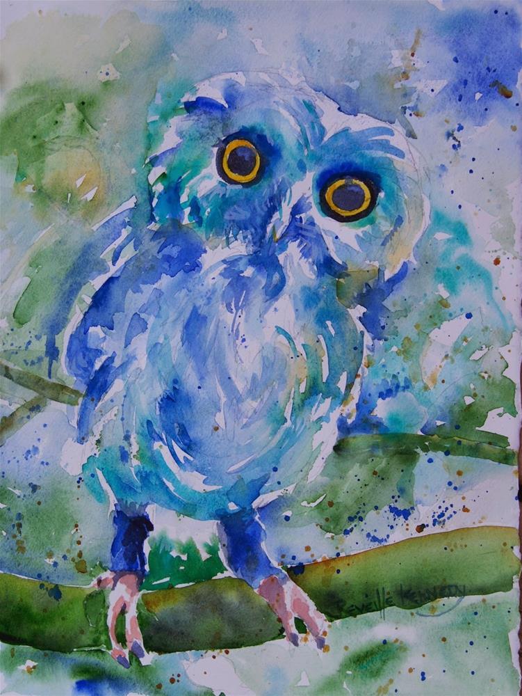 """Owls  New Blue Tights"" original fine art by Reveille Kennedy"