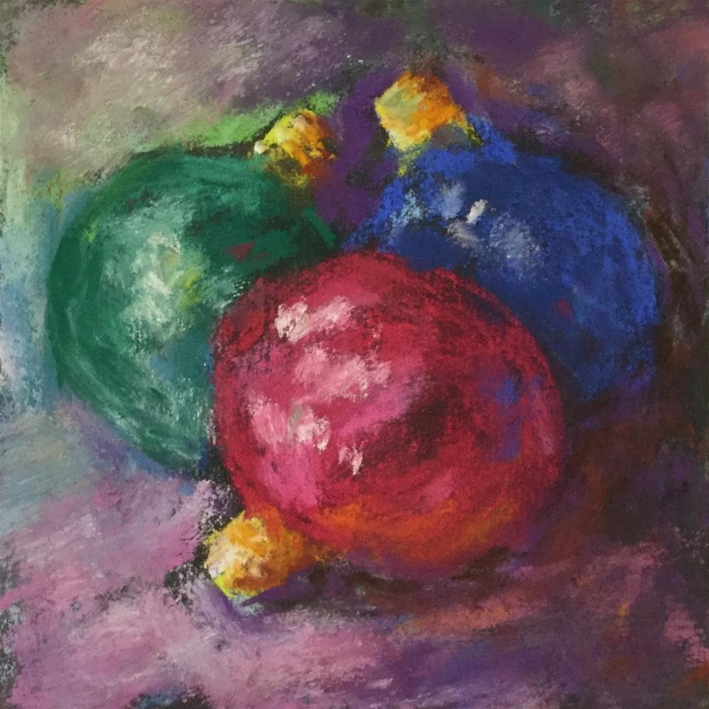 """Original pastel Christmas holiday bulbs "" original fine art by Alice Harpel"