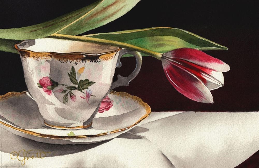 """""""Tulip & Tea Cup Watercolor"""" original fine art by Jacqueline Gnott, TWSA, WHS"""