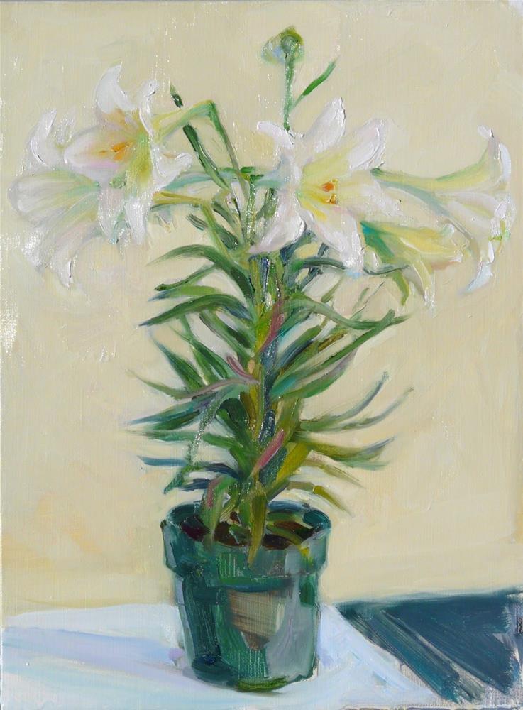 """""""Easter Flowers,still life,oil on linen,16x12,price$300"""" original fine art by Joy Olney"""