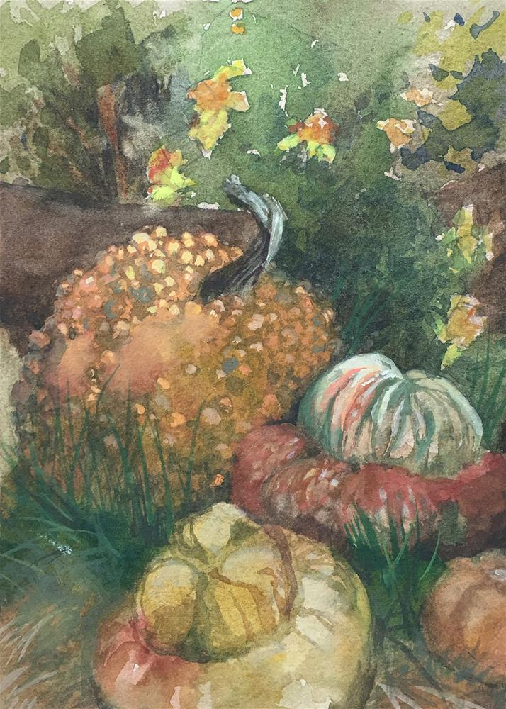 """Pumpkin Display"" original fine art by Robyn Jorde"