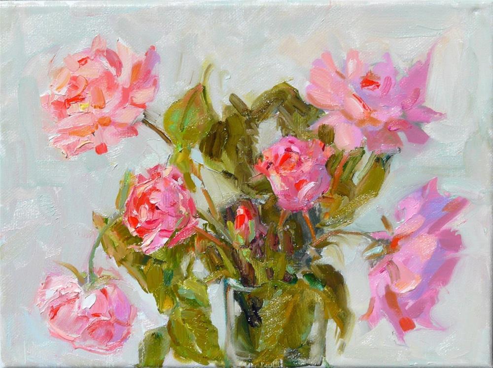 """Second QE Rose,still life,oil on canvas,9x12,price$375"" original fine art by Joy Olney"
