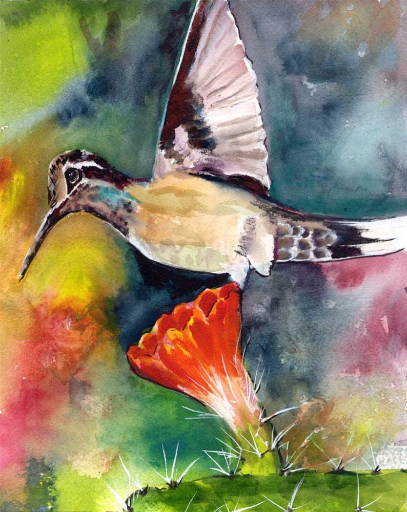 """""""Humingbird and Cactus"""" original fine art by Bunny Griffeth"""