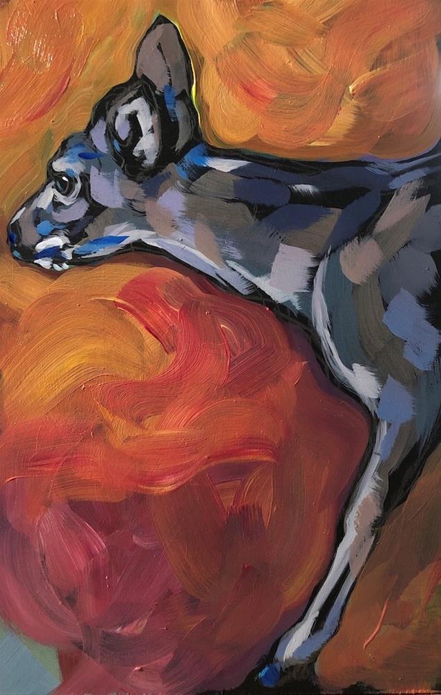 """""""Watchful Red"""" original fine art by Kat Corrigan"""