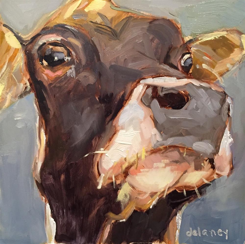"""cow 86 SUSPICIOUS MINDS"" original fine art by Jean Delaney"