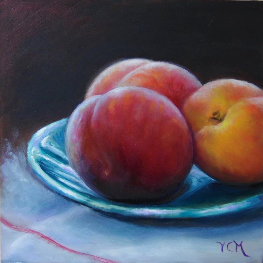 """Three Peaches"" original fine art by Vana Meyers"