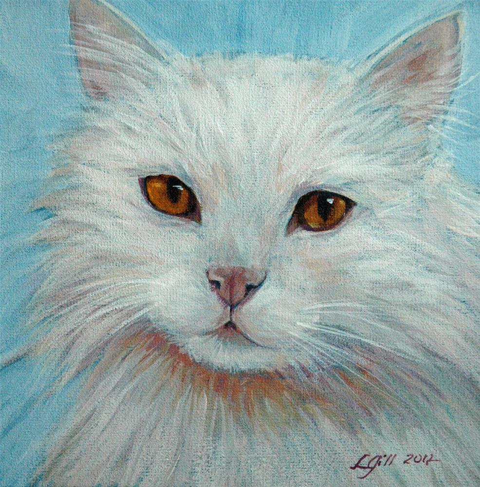 """Angel, White Cat on a White Mat"" original fine art by Lyn Gill"