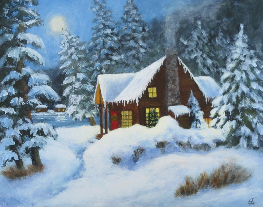 """Christmas Cabin"" original fine art by Elizabeth Elgin"