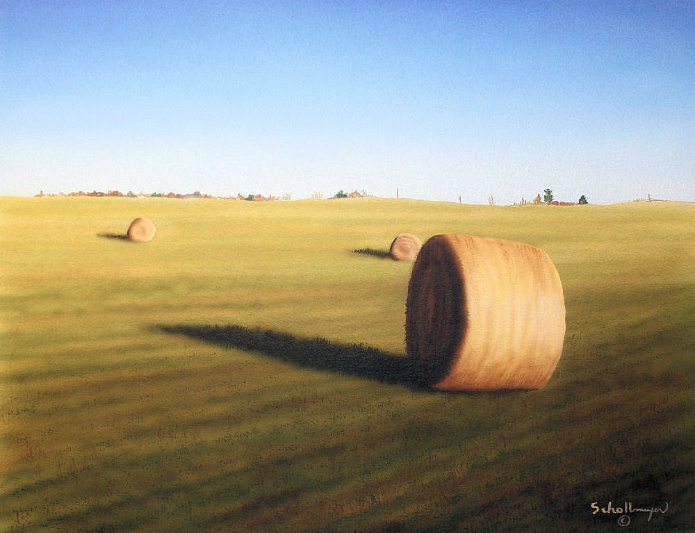 """Late Morning Hay Field"" original fine art by Fred Schollmeyer"
