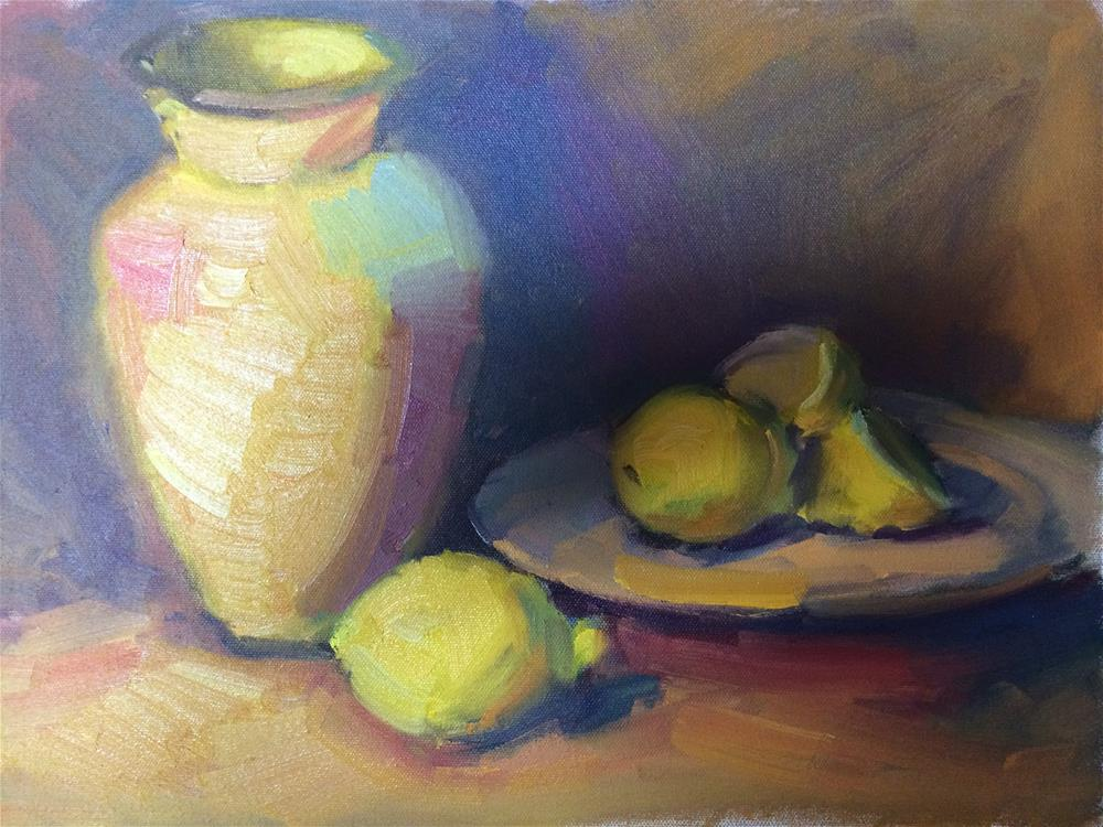 """Lemons and a vase"" original fine art by Naomi Bautista"
