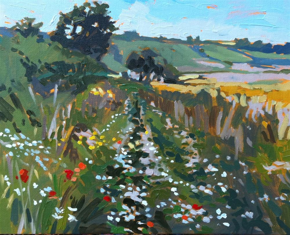 """""""Field with daisies"""" original fine art by Haidee-Jo Summers ROI"""