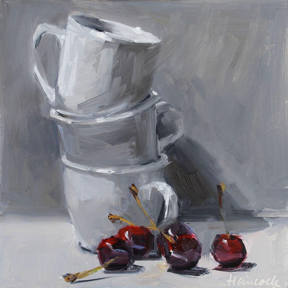 """""""White Cup Stack and Five Cherries"""" original fine art by Gretchen Hancock"""